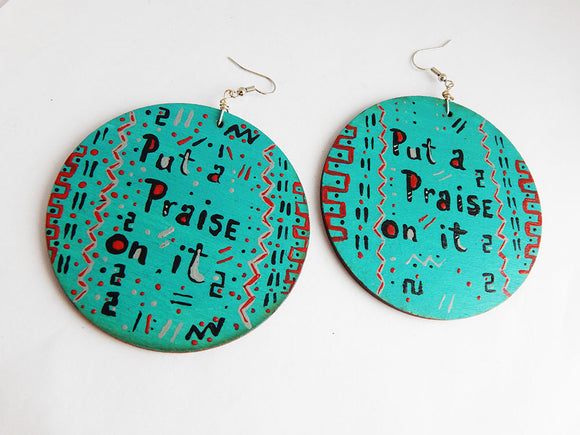 Praise Earrings Blue Red Black Hand Painted Wooden Jewelry Christian Inspirational