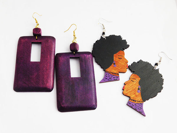 Purple Earrings Wooden Hand Painted Rectangle Art jewelry