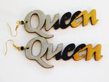 Queen Earrings Silver Black Gold Jewelry Gift Ideas for Her