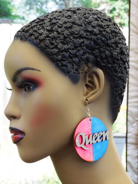 Queen Earrings Hand Painted Jewelry Blue Pink Wooden