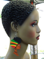 African Earrings Rasta Women Afro Natural Hair Jewelry Afrocentric Wooden Ethnic Red Green Yellow