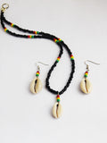 Cowrie Shell Necklace Beaded Earrings Jewelry Set