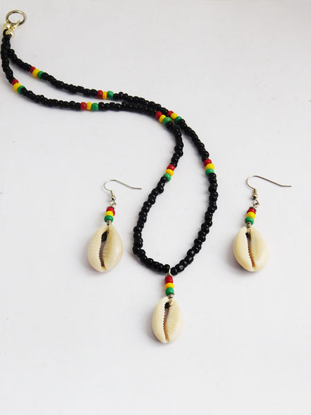 Cowrie Shell Necklace African Beaded Earrings Jewelry Set Rasta