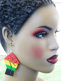 Fist Earrings Red Yellow Green Black Wood Hand Painted Jewelry