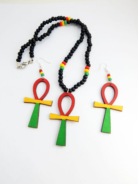 Rasta Jewelry Set Rastafarian Necklace Earrings Afrocentric Ethnic Wooden Beaded Red Black Yellow Green Handmade