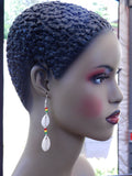 Cowrie Shell Earrings Rasta Beaded African Ethnic Jewelry