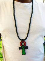 Ankh Necklace Men Large Pan African RBG Jewelry Egyptian Necklaces
