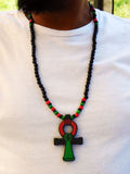 Ankh Necklace Men Large Pan African RBG Jewelry Egyptian Necklaces Red Black Green Wood Beaded Ethnic Handmade Afrocentric