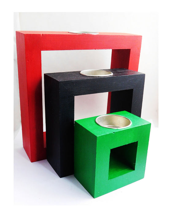 Candle Holders Red Black Green Pan African Kwanzaa Gift Ideas Home Decor Wooden