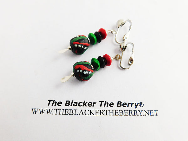 RBG Earrings Pan African Beaded Jewelry Clip On