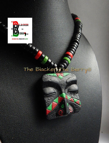 RBG Mens African Necklace RBG Mask Beaded Necklace Red Black Green Mens Tribal Jewelry