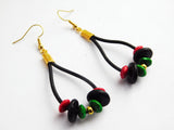 Leather Earrings Beaded RBG Red Black Green Gold Ethnic Jewelry