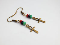 Ankh Earrings Small Jewelry RBG Pan African Afrocentric Ethnic Egyptian Beaded