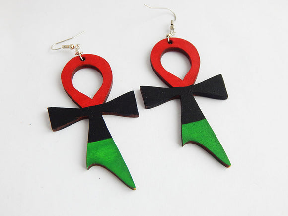 Ankh Earrings RBG Jewelry Red Black Green Hand Painted Hand Painted Pan African