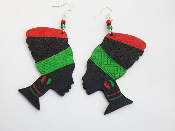 Pan Africa Earrings Wooden Jewelry African Woman Beaded Wood Red Black Green Hand Painted Black Owned Business