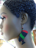 Pan Africa Earrings Wooden Jewelry African Red Black Green Black Owned Business