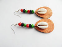 Cowrie Shell Earrings RBG Beaded Jewelry Red Black Green Ethnic Earrings