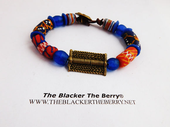 African Bracelet Blue Beaded Ethnic Men Jewelry