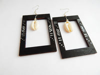 Black Cowrie Earrings Wooden Rectangle Jewelry African