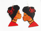 Black Art Earrings Wooden Silhouette Afrocentric African Woman Jewelry Red Black