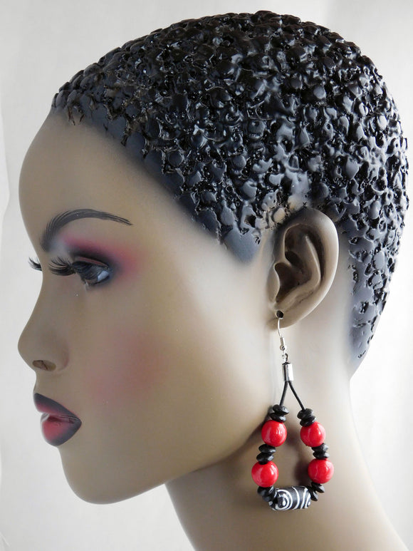 Ethnic Earrings Leather Beaded Red Black African Women Jewelry