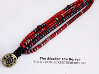 Red Multi Strand Bracelet Beaded Jewelry Leather