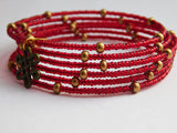 Red Bracelet Beaded Earrings Brass Ethnic