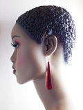 Red Earrings Drop Jewelry Long Women