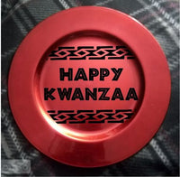 Decorative Kwanzaa Charger Plate Afrocentric Home Decor Red