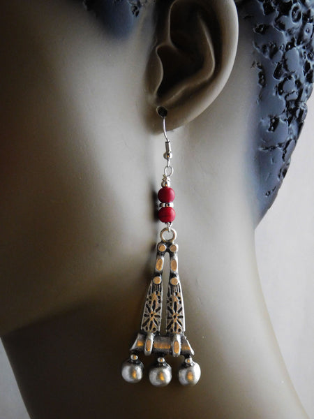 Tribal Earrings Antique Silver Red Beaded Long
