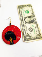 African Earrings Red Tribal Woman Jewelry Hand Painted Afrocentric Ethnic
