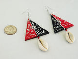 Art Earrings Triangle Red Black Cowrie Shell Jewelry Gift Ideas for Her
