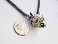Rhino Necklace African Rhinoceros Jewelry Antique Silver