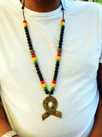 Men African Necklace Brass Pendant Ghana Beaded Jewelry Leather