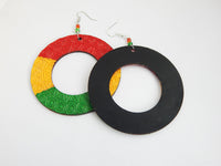 Rasta Earrings Wooden Jewelry Women Red Yellow Green Hand Painted Large Wood Handmade