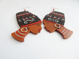 African Earrings Wooden Jewelry Women Hand Painted Ethnic Red Black Silver