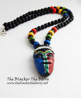 South African Mask Necklace Men Jewelry Beaded African Beaded Afrocentric Gift Ideas for Him Handmade The Blacker The Berry