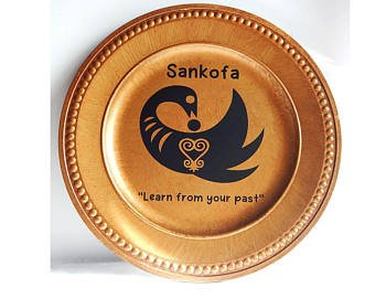 African Charger Plates Kwanzaa Home Decor Sankofa Black Gold