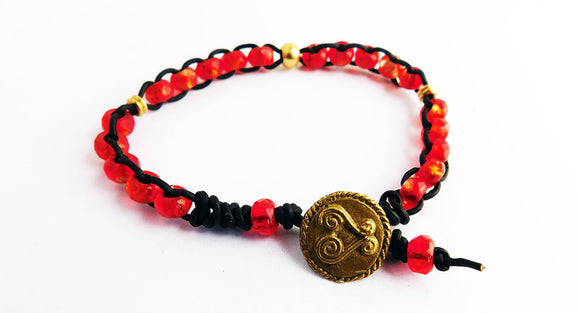 Sankofa Anklet Red Gold African Jewelry