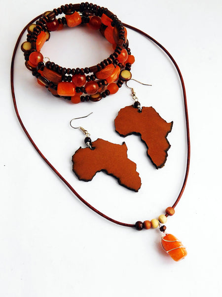 African Jewelry Set Orange Leather Earrings Beaded Bracelet