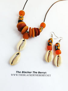 Cowrie Shell Necklace Ethnic Orange Jewelry Set Earrings Beaded