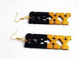 Sexy Earrings Wooden Hand Painted Black Gold