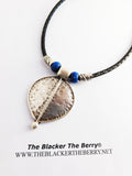 Tribal Necklace Women Jewelry Silver Leaf Black Leather Gift Ideas