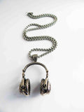 Silver Headphones Necklace