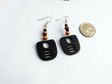 Ethnic Earrings Small Wooden Jewelry Black Beaded Dangle