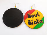 Soul Sista Earrings Rasta The Blacker The Berry Wooden Jewelry Hand Painted