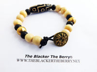 Men Bracelet Beaded Black Ethnic Cream Brass