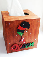 Wood Tissue Cover Han Painted Afrocentric Queen Diva Gift Ideas