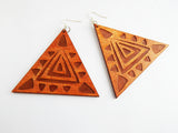 Wooden Triangle Shaped Earrings Ethnic Women Jewelry