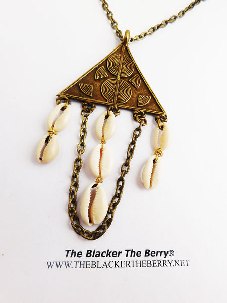 Cowrie Shell Necklace Ethnic Triangle Chain Jewelry